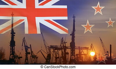 Industrial concept with New Zealand flag at sunset,...