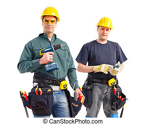 builders - smiling builders. Isolated over white background...