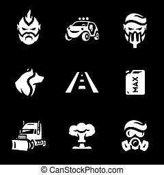 Vector Set of Post-apocalypse road Icons. - Hero, car,...