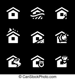 Vector Set of Housing accident Icons. - House, flood,...