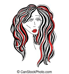 Sad woman with beautiful hair and red lips. Digital sketch...