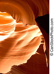 Antelope Canyon Rock Formations - Sunlight reflected off of...