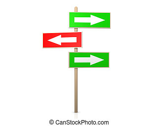 Signpost - Right way - 3D rendered Illustration Isolated on...