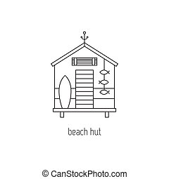 Beach hut line icon - Beach hut vector thin line icon....