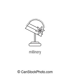 Millinery line icon - Millinery vector thin line icon....