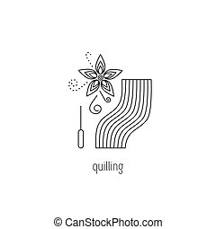 Quilling line icon - Quilling vector thin line icon. Flower,...