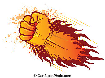 fist and flame - vector clenched fist and flame