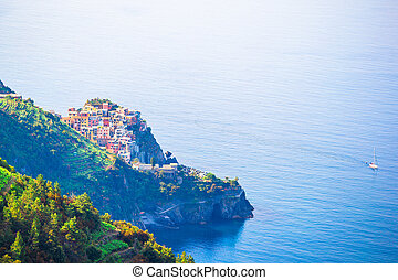 Beautiful view of Corniglia from above. One of five famous colorful villages of Cinque Terre National Park in Italy