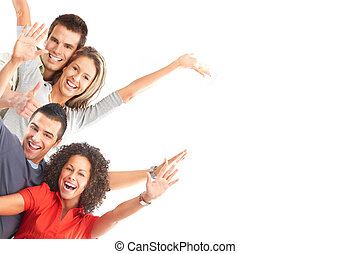 Happy people - Happy funny people. Isolated over white...