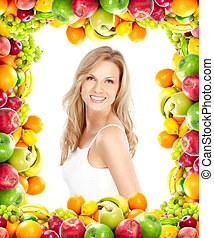 Woman and fruits - Young smiling woman with fruits. Over...