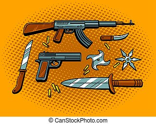Weapon pop art style vector illustration