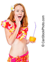 Shocked girl on a white background in Hawaiian clothes with...