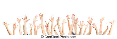 Hands up - A lot of hands. Isolated over white background