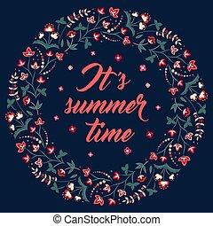 Floral frame on black, its summer time - Midsummer floral...