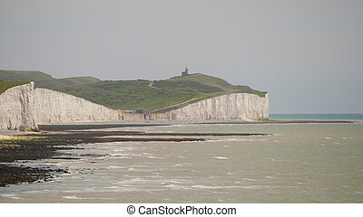 Chalk Cliffs and Belle Tout Lighthouse - View of chalk...