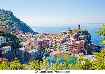 Amazing view of Vernazza from above. One of five famous colorful villages of Cinque Terre National Park in Italy