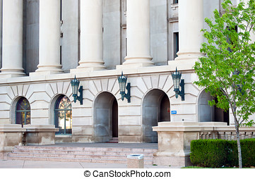 Weld county court house, Colorado - Columns and entrance to...