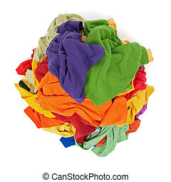 Heap of colorful clothes from above - Big heap of colorful...
