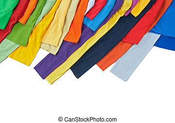 Sleeves of colorful clothing on white background