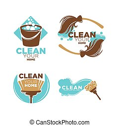 Clean your home service promo logotypes illustrations set -...