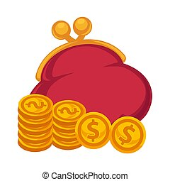 Thick red purse and gold coins isolated illustration - Thick...