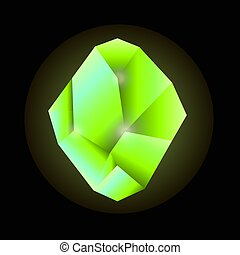 Quartz crystal in green color isolated on black background -...