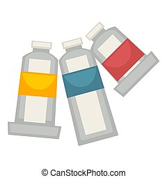 Three painting tubes isolated on white vector poster - Three...
