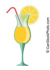 Yellow cocktail in glass with lemon slice and straw - Yellow...