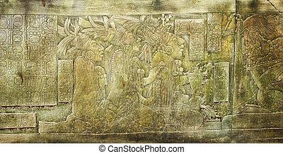 bajorrelieve, antiguo, ciudad, México, Maya, Palenque,...