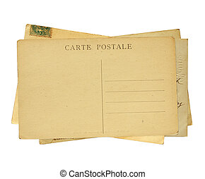 Old post cards. Isolated on white background - Vintage post...