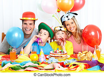 Happy family and birthday - Happy family Father, mother and...
