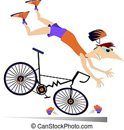 Man falling down from the bicycle isolated