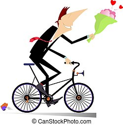 Smiling man on the bike with a bunch of flowers