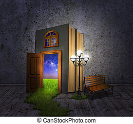 Hidden Room.Concept book, a lantern and a bench, with a door to the night glade.