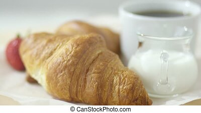 Crispy croissants in close-up - Close-up shot of fresh baked...