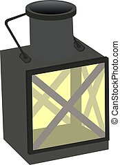 Vintage camping old lamp for hiking. vector illustration