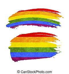 Grunge brush stroke with rainbow flag, LGBT community sign...