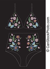 Satin stitch embroidery design with flowers and butterflies....