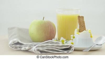 Delicious and healthy breakfast - Close-up shot of...
