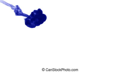 A flow of isolated blue ink inject. Blue A flow of isolated...