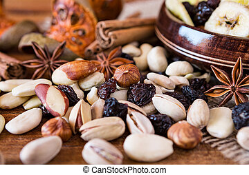 Closeup of mix of dried fruits and nuts