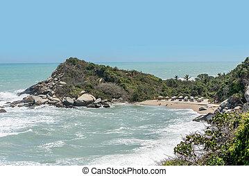 Beach at Tayrona National Park Santa Marta in Colombia