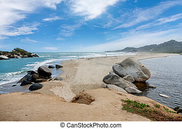 Beach at Tayrona National Park Santa Marta in Colombia