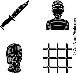 Knife, prisoner, mask on face, steel grille. Prison set...