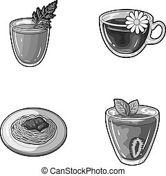 Carrot juice in a glass, chamomile tea in a cup, porridge on a plate, strawberry juice in a glass with a leaf. Vegetarian dishes set collection icons in monochrome style vector symbol stock illustration web.
