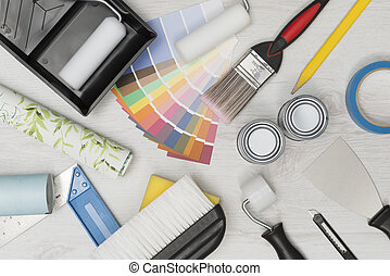 Home Improvement Painting Tools on White Wooden Surface Overhead