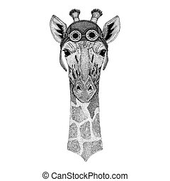 Camelopard, giraffe wearing aviator hat Motorcycle hat with...