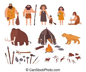 Set of Stone Age theme. Primitive people, children, mammoth,...