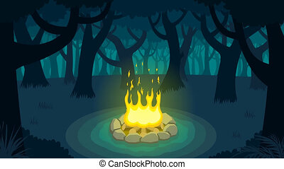 Forest Campfire - Cartoon illustration of forest campfire.
