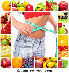 Fruit diet. Fruits. Apple, banana, orange, kiwi, salad
